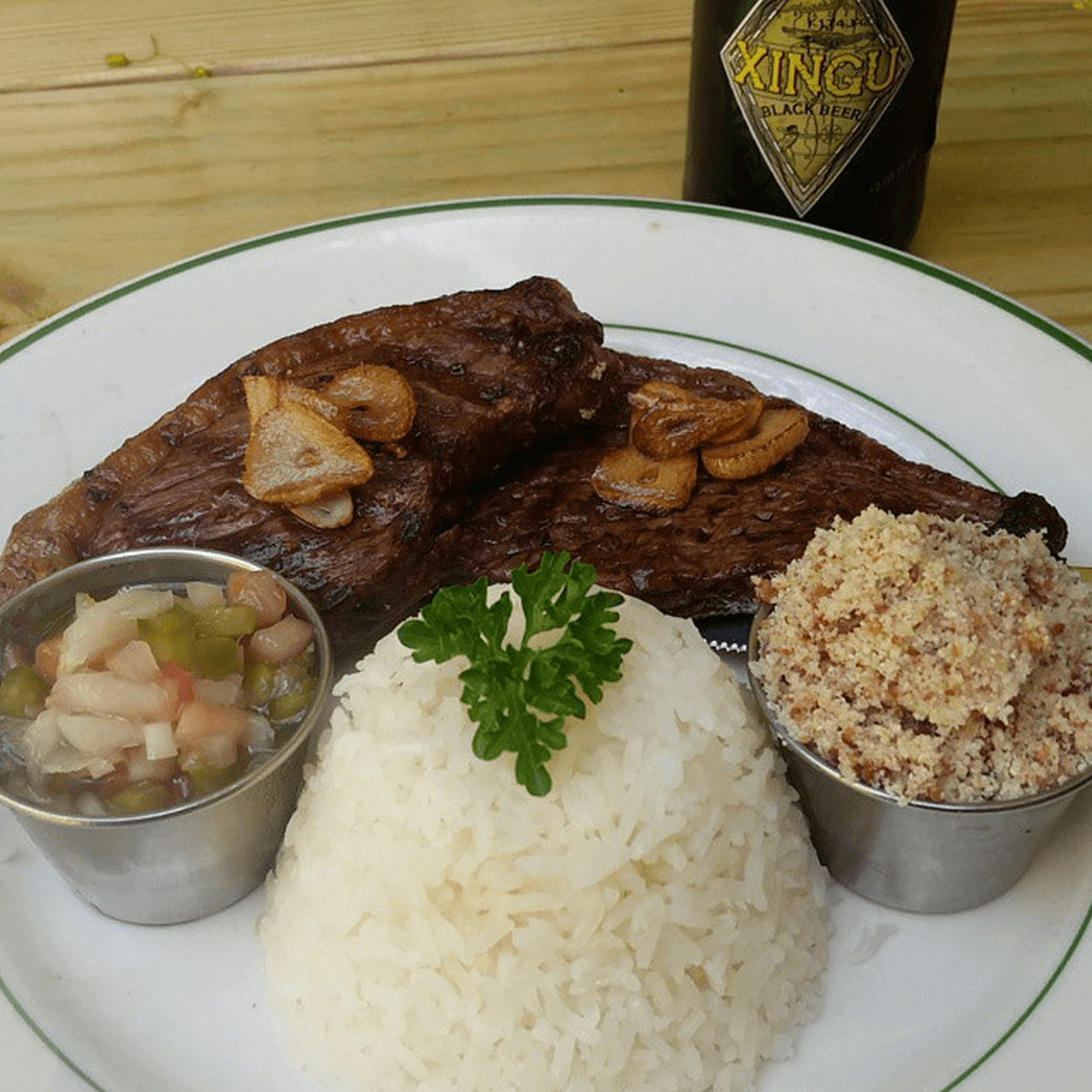 Dining Berimbau do Brasil Restaurant Steak Rice and Farofa