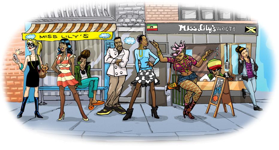 Dining Miss Lilys Restaurant Cartoon