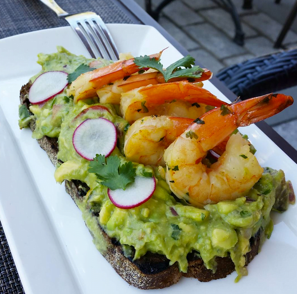 Dining Tavern on the Green Restaurant Avocado Shrimp Toast