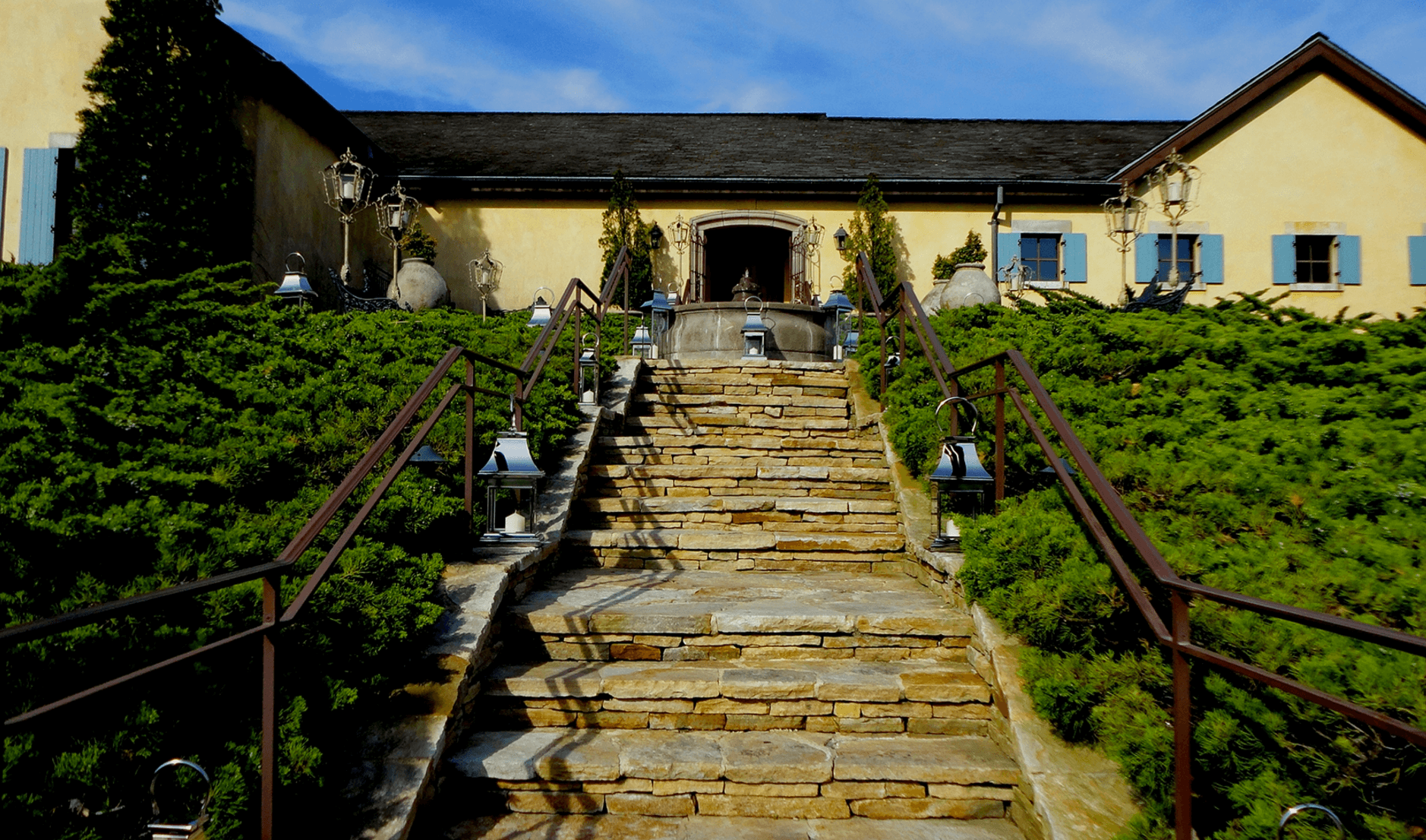 Dining Wolffer Estate Vineyard Tastings Glamour Mag Stairs