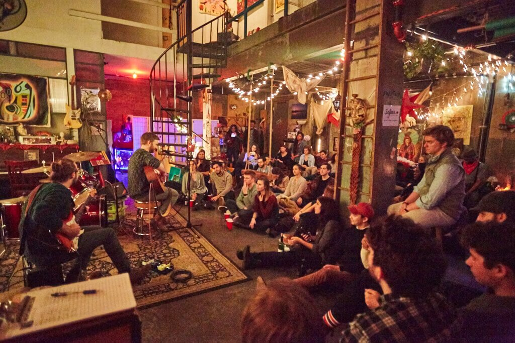 BTSNYC Experiences Up Coming Sofar Sounds NYC Music Lights Basement