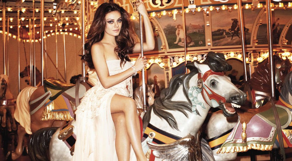 Curiosities City Secrets Janes Carousel Brooklyn Bridge Park Mila Kunis by Harpers Bazaar