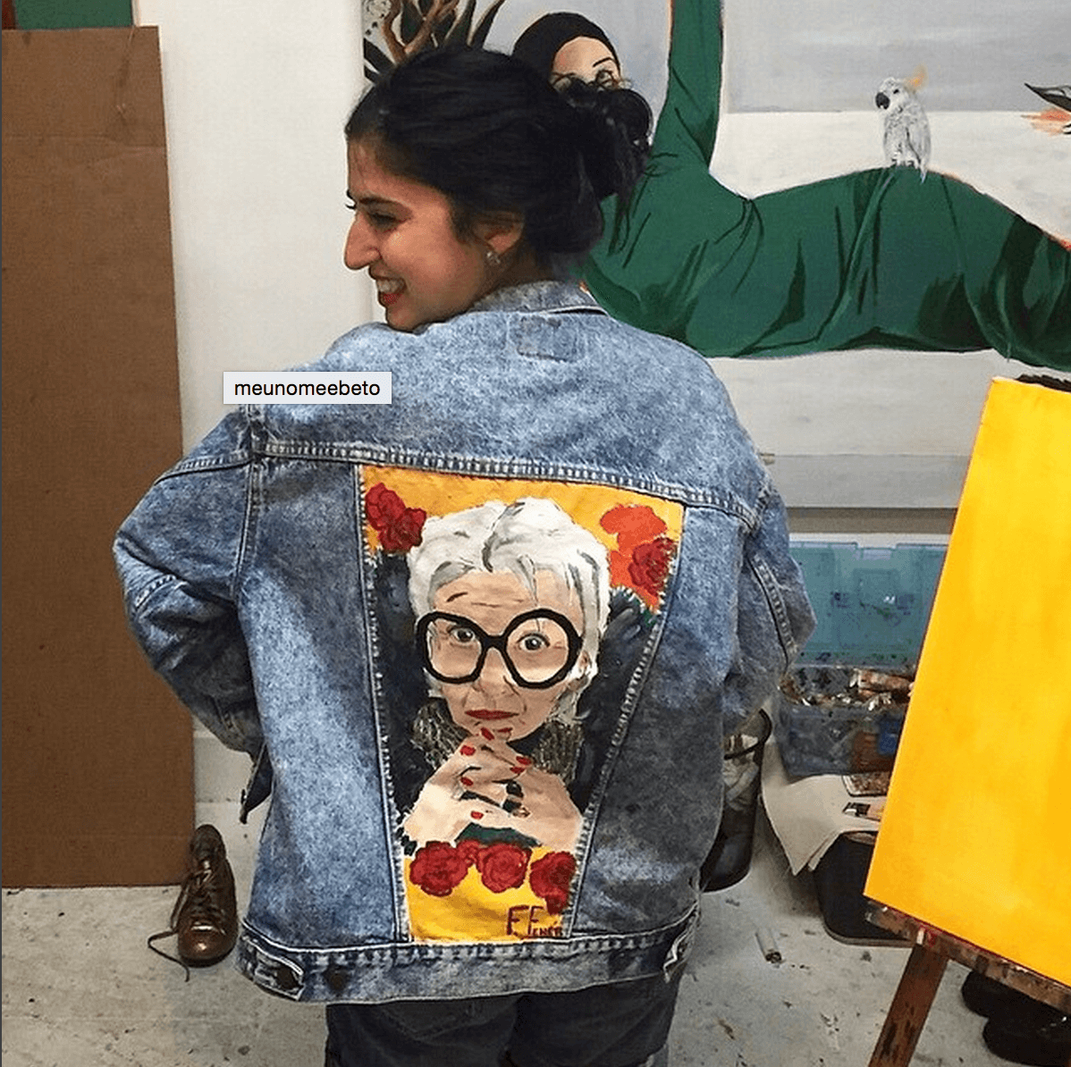Shop Ladies Fernanda Feher Denim Jackets Customized Iris Apfel