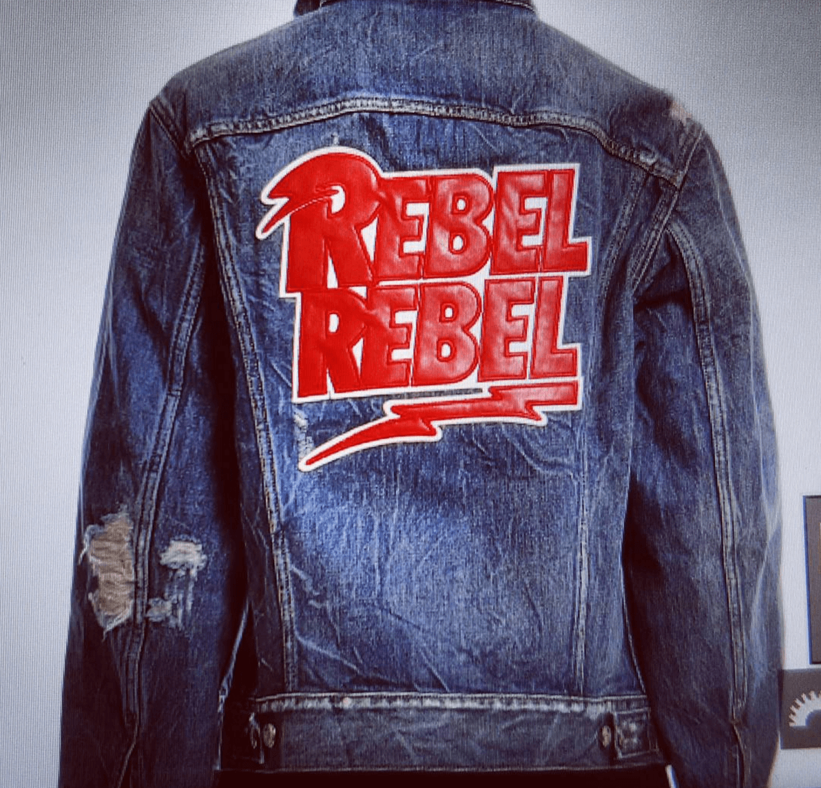 Shop Ladies and Gents Blue and Cream Rebel Denim Jacket