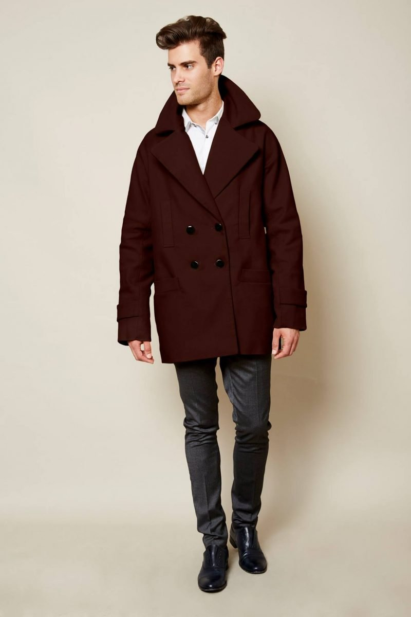 Shop Ladies and Gents Vaute Vegan Fashion Menswear Burgundy Coat