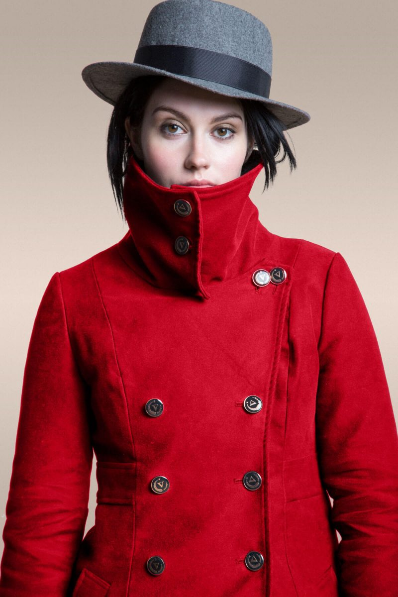 Shop Ladies and Gents Vaute Vegan Fashion Red Coat