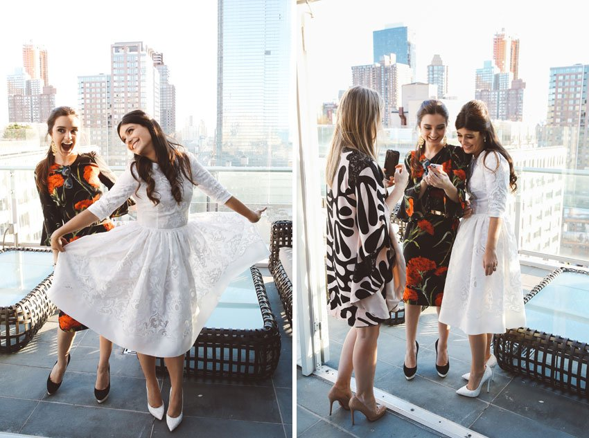 Shop NYC Wedding Fernanda Camoes Press Lounge with Girl Friends
