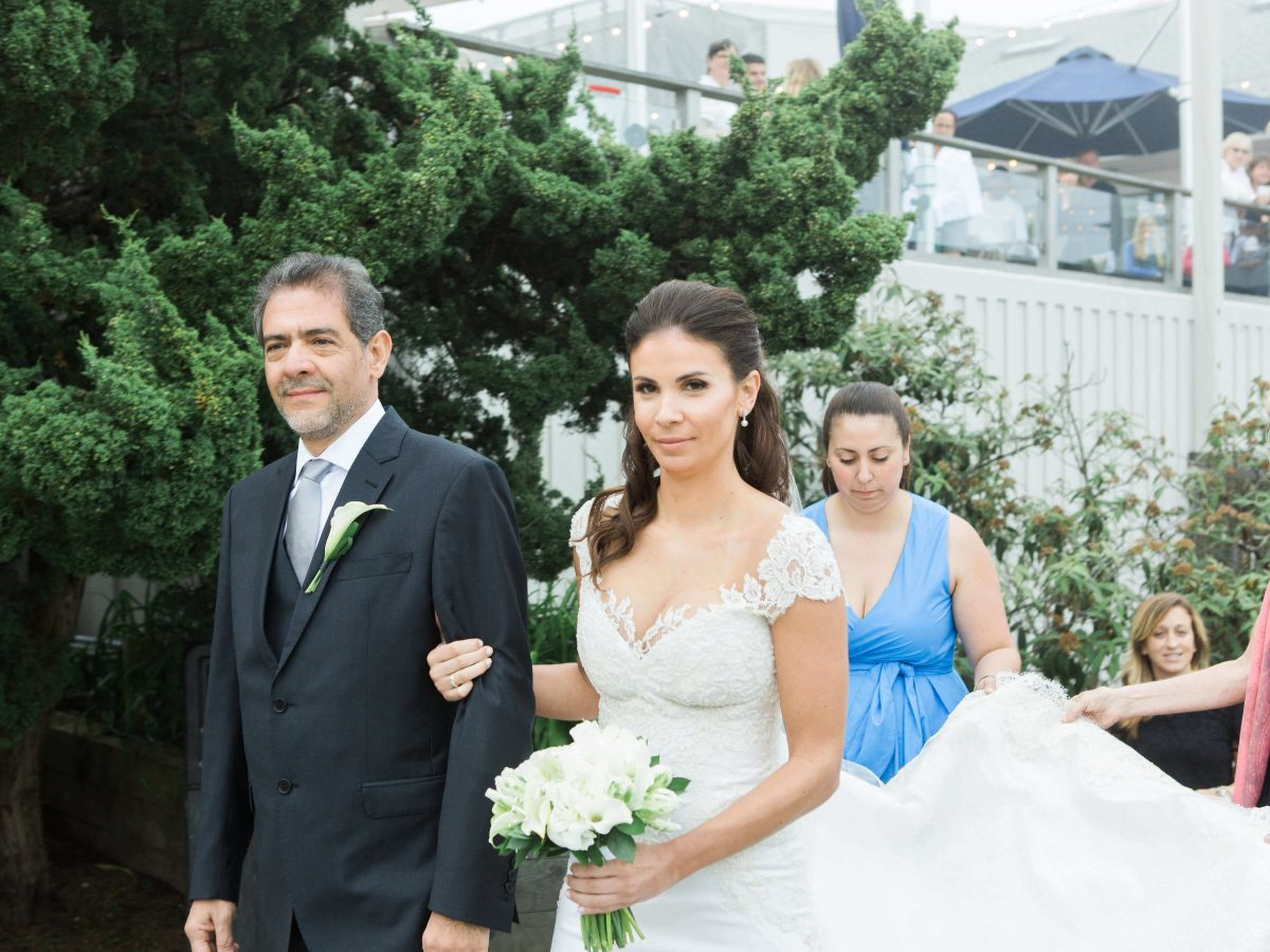 Shop NYC Wedding Kamila Almeida Gurneys Montauk Bride and Dad Closeup