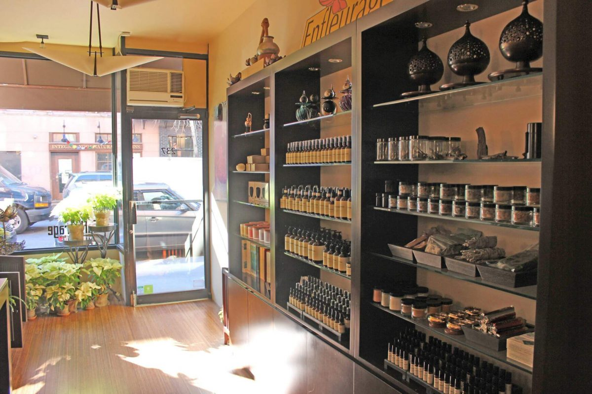 Shop Specialties Enfleurage Essencial Oils in New York Inside Store