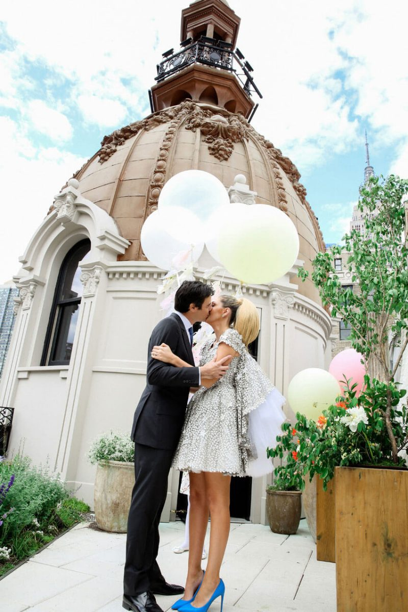 Shop Weddings Paula Merlo Rooftop of The NoMad Hotel Dome Kiss