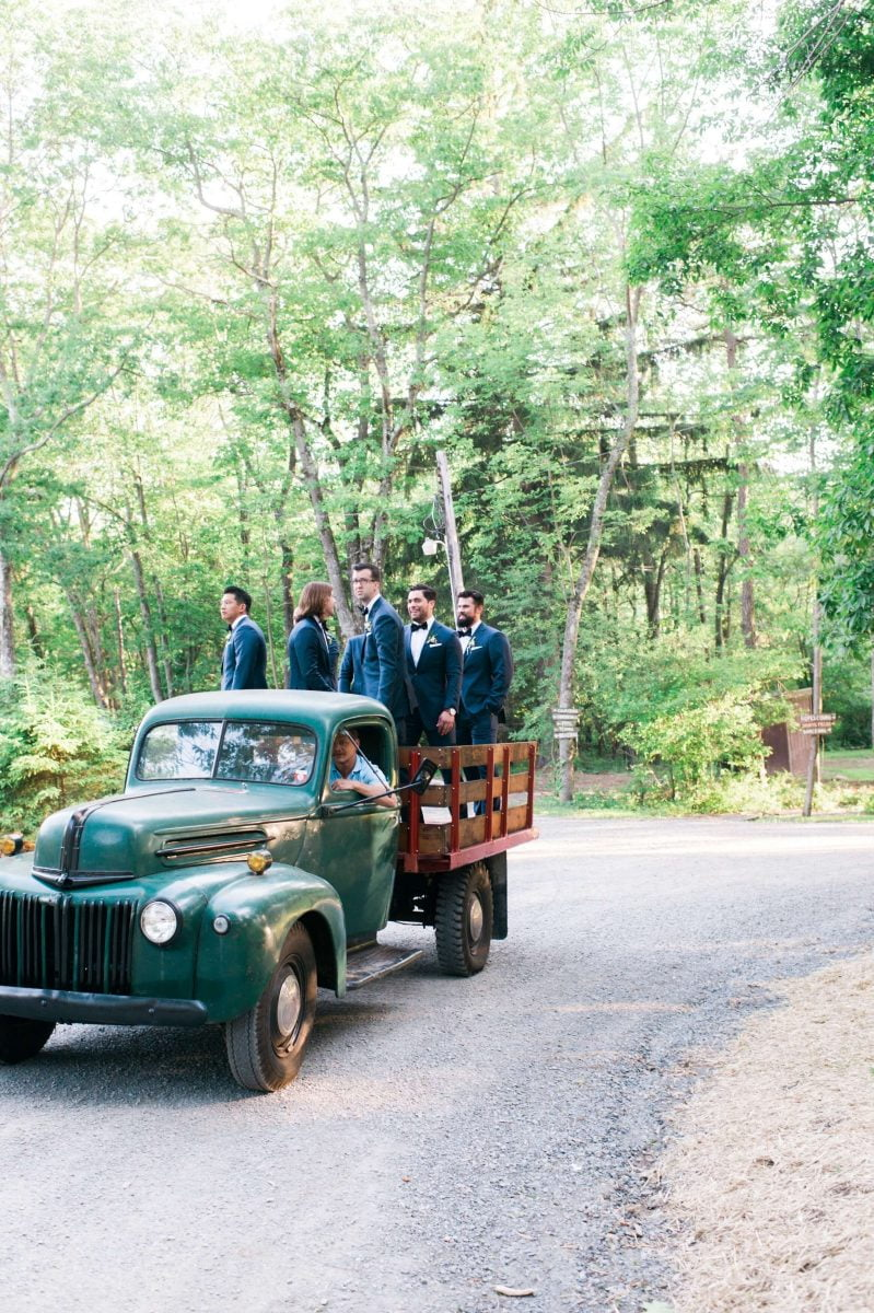 Shop Upstate NY Wedding Stephanie Karvellas Ceremony Groomsmen Arriving