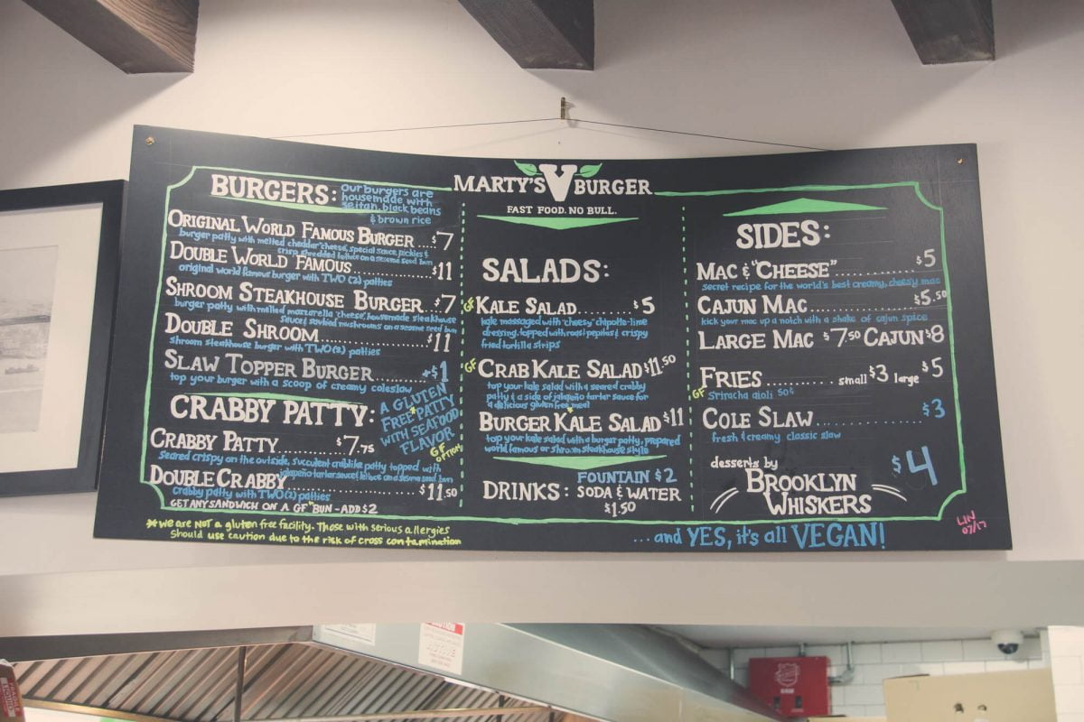 Dining Marty V Burger Menu