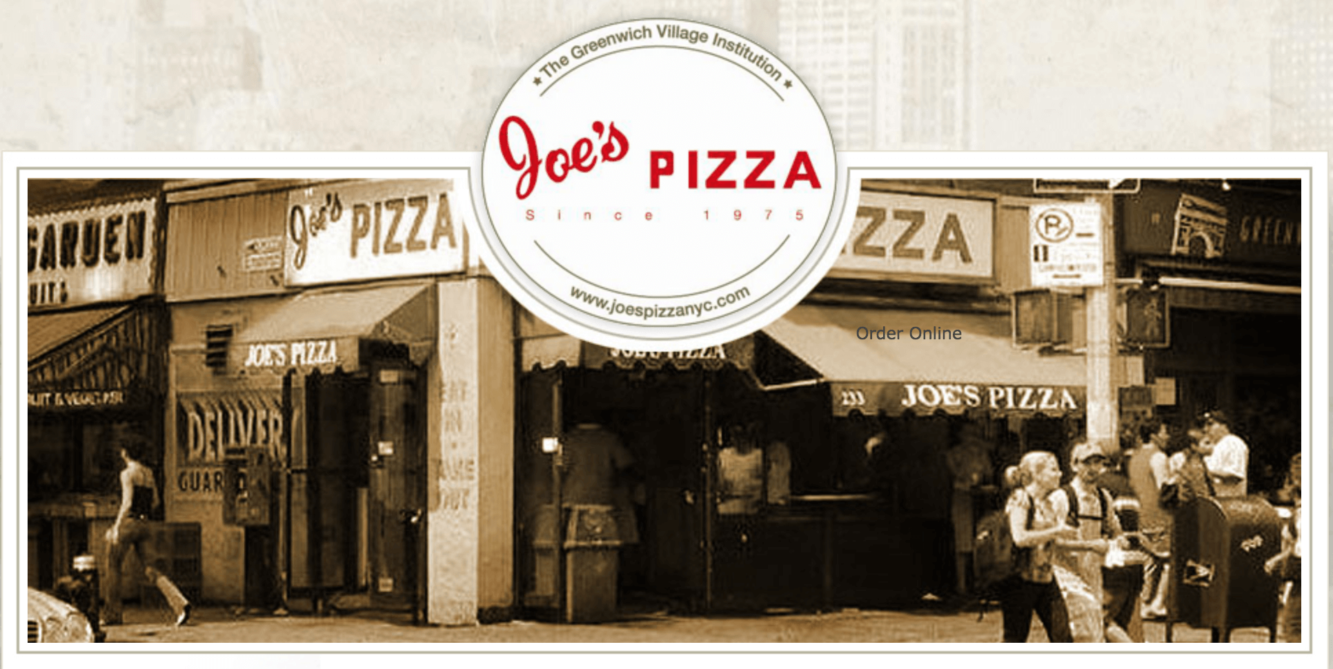 Dining Italian Restaurants in NYC Joes Pizza Façade