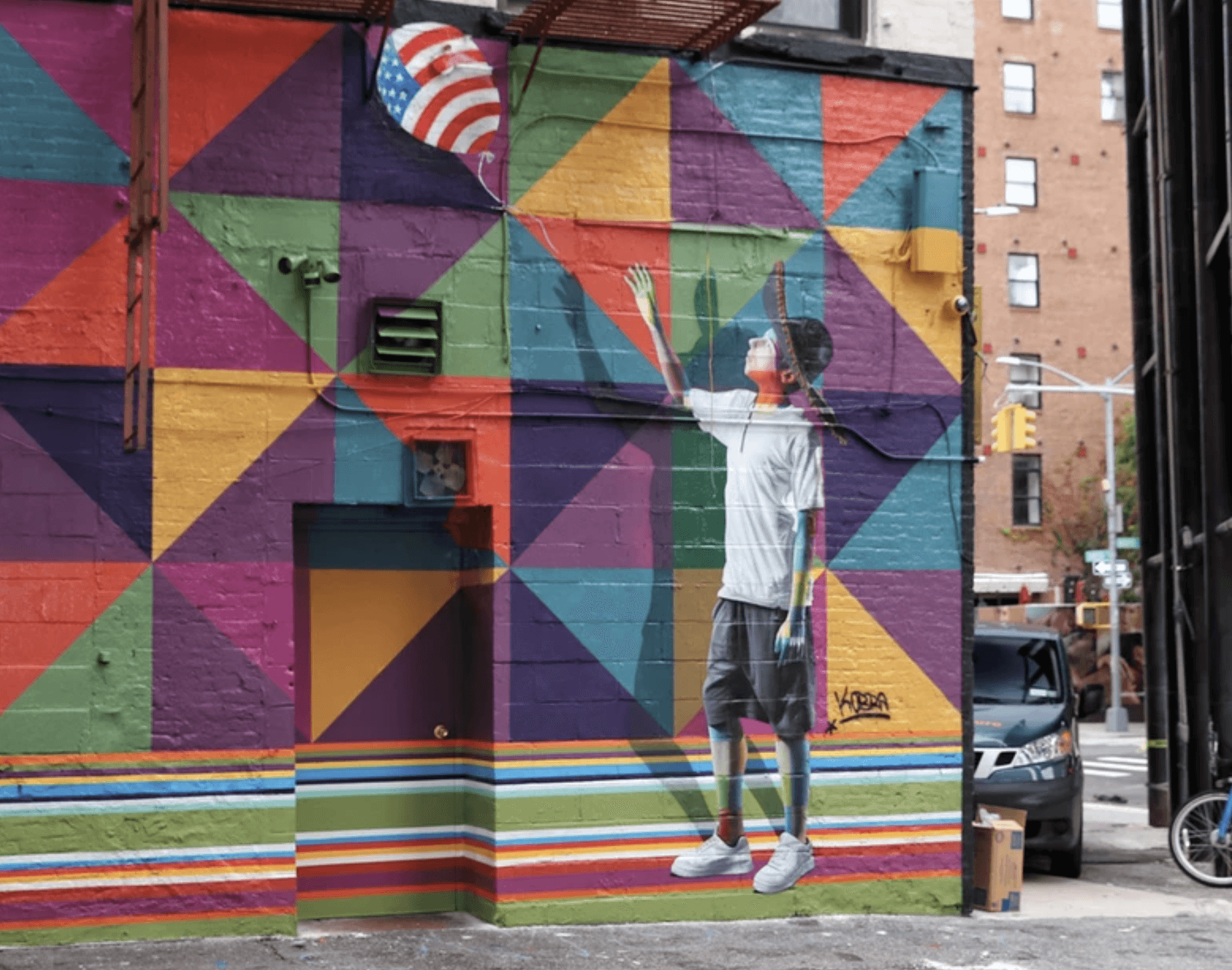 Kobra Mural Grafitti New York American Dreamers Boy with Balloon