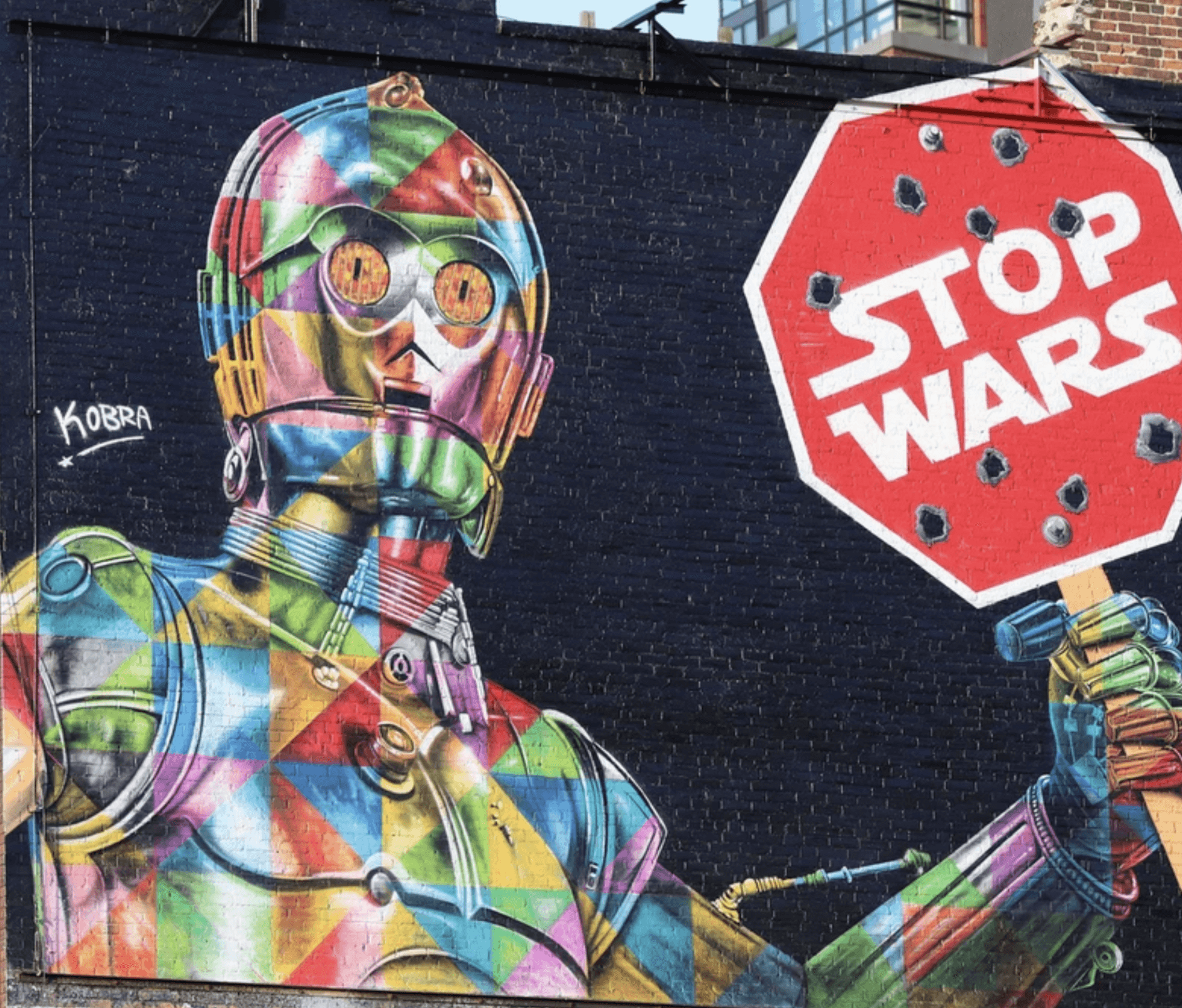 Kobra Mural Grafitti New York Stop Wars