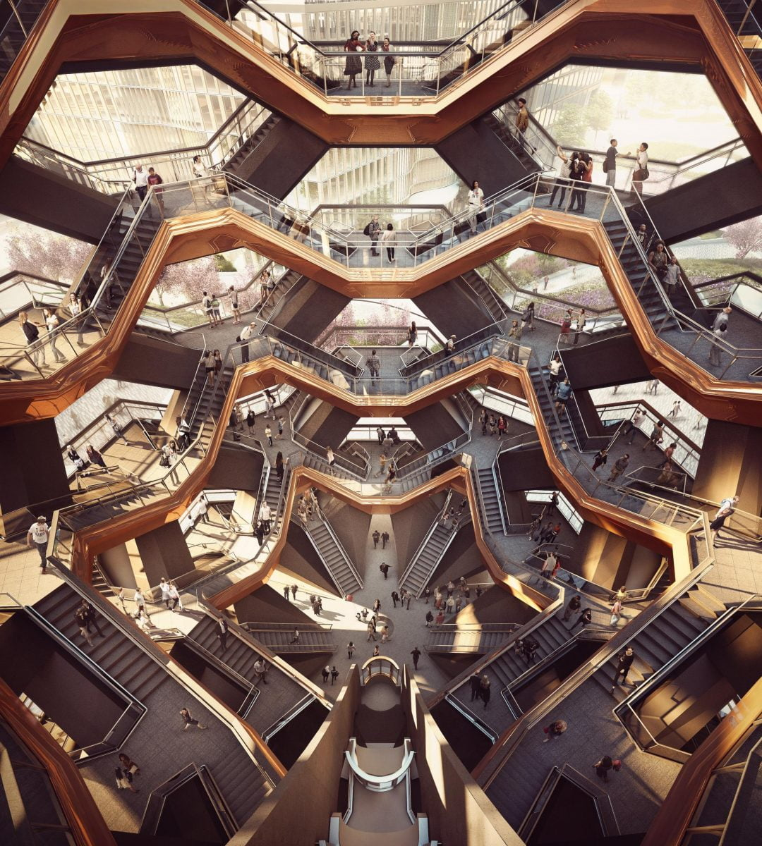 Shop Ladies and Gents Hudson Yards Interior View of the Vessel Courtesy of Forbes Massie Heatherwick Studio