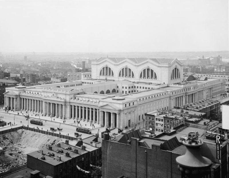 BTSNYC Experiences On Going Tour Of The Remnants Of Penn Station Vintage Aerial View 1910s Credit Wikimedia Commons Library of Congress